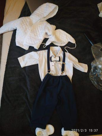 Ubranko / komplet do chrztu  74 spodnie, szelki,mucha, koszulobody