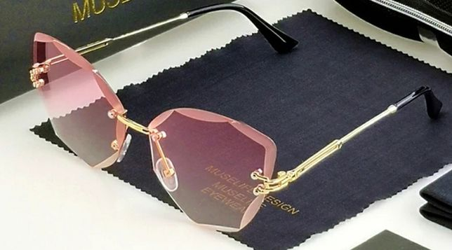 Nowe śliczne okulary cat eye różowe gradient
