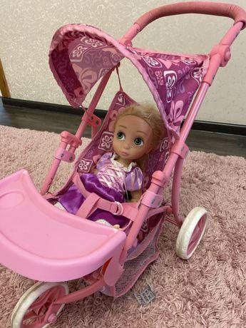 коляска розовая со столиком для больших и маленьких кукол