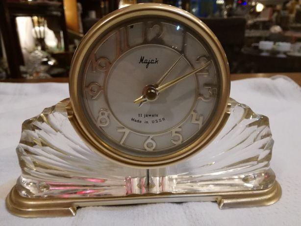 Stojący zegar na biurko Majak,kryształowa podstawa