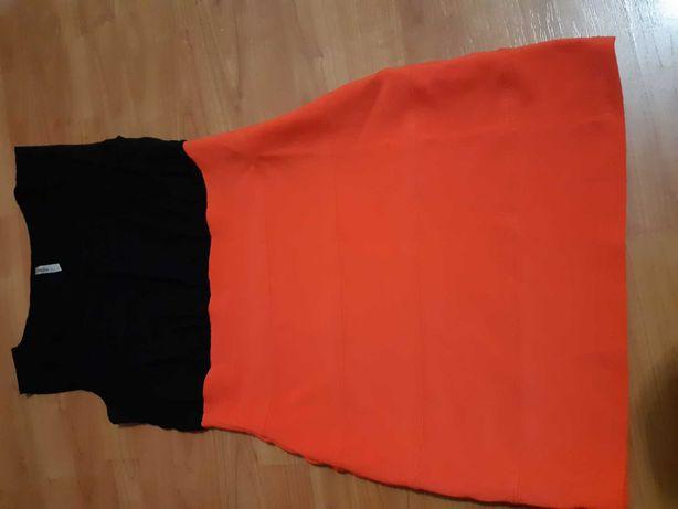 Sukienka czarno pomarańczowa