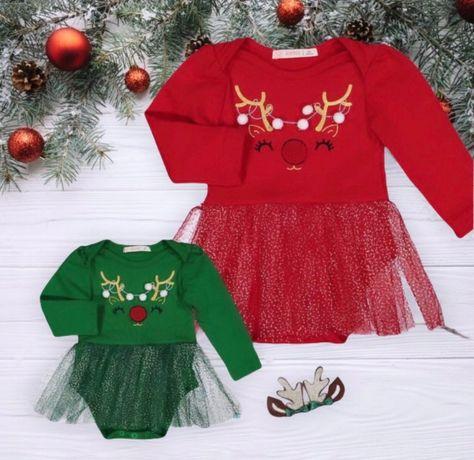 Новогоднее боди-платье на байке с короной, цвет красный р .80, 92