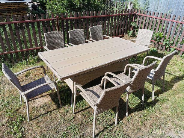 Zestaw ogrodowy Rattanowy, duży stół +8 krzeseł