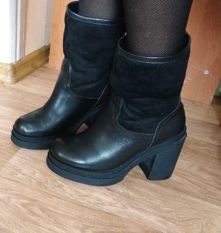 Кожа! Ботинки/сапоги на среднем каблуке/38-39р/Top Shop