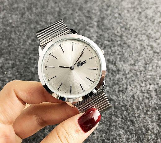 Стильные женские наручные часы в стиле лакоста серебристые Lacosta топ