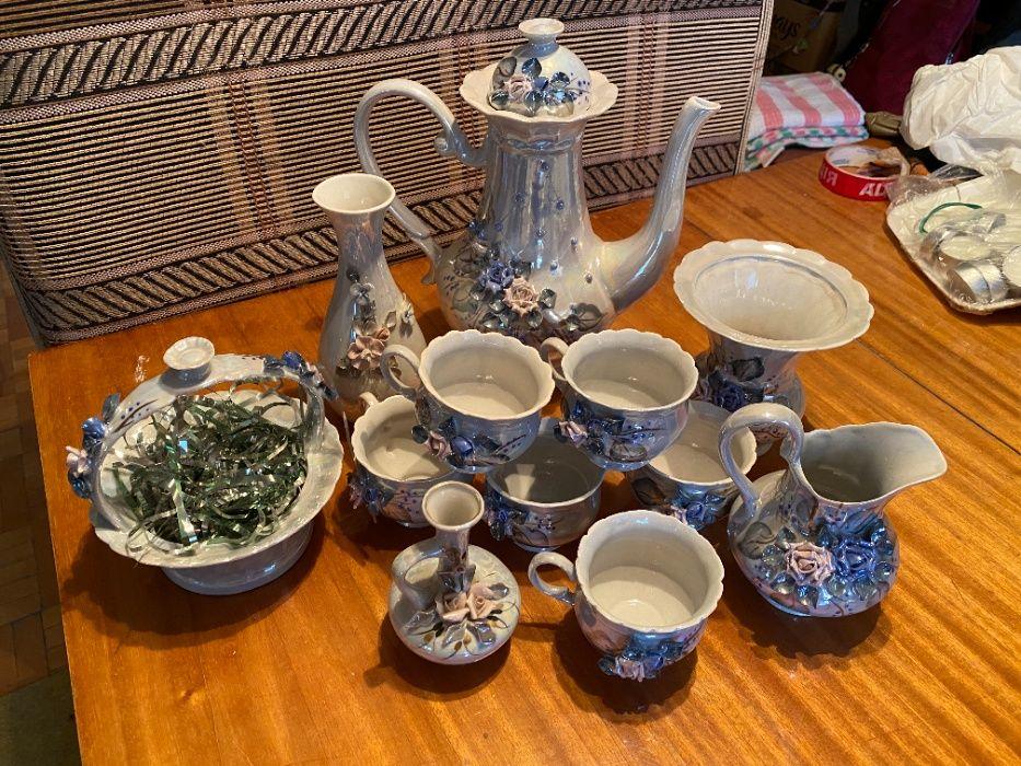 Фарфоровый кофейный чайный сервиз праздничный Объемные розы Харьков - изображение 1