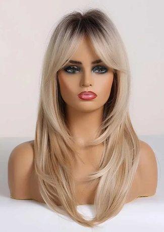 Blond długie włosy odrost peruka jak naturalna proste