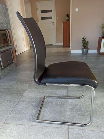 Krzesło nowoczesne na płozach ekoskóra czarne chrom