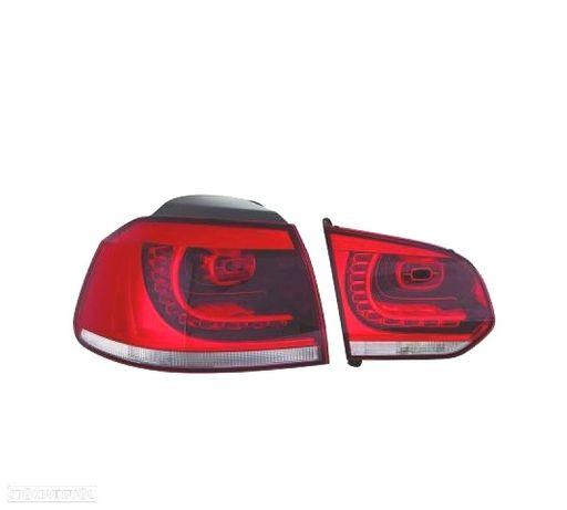 FAROLINS TRASEIROS LED VW GOLF 6 MK VI 08-12 VERMELHO BRANCO