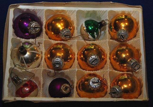 12 szt. stare szklane bombki Świąteczne choinkowe