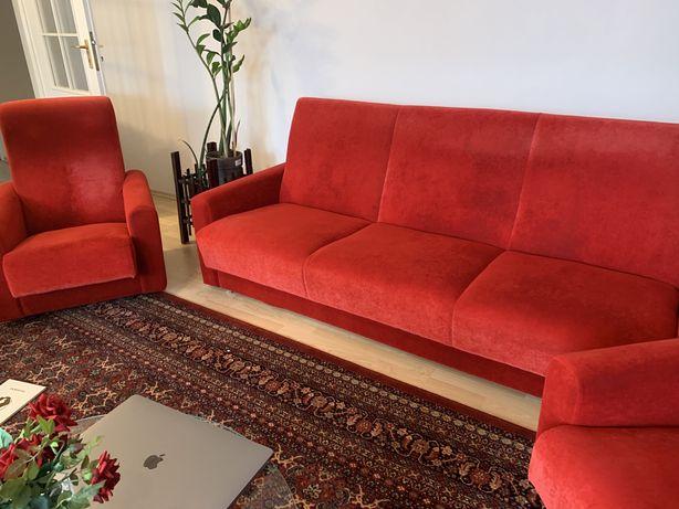 Piekna rozkladana czerwona kanapa + 2 fotele OKAZJA!!!