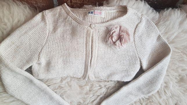 Eleganckie wizytowe bolerko sweterek H&M ceremonia 122 kwiat 7 8