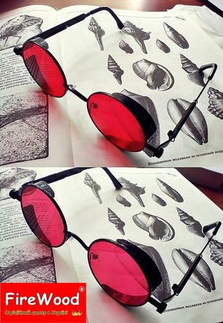 Круглые красные очки Steampunk ретро/винтаж стимпанк