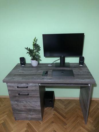 Solidne biurko, drogi material EGGER, cichy domyk, szare z tekstura!