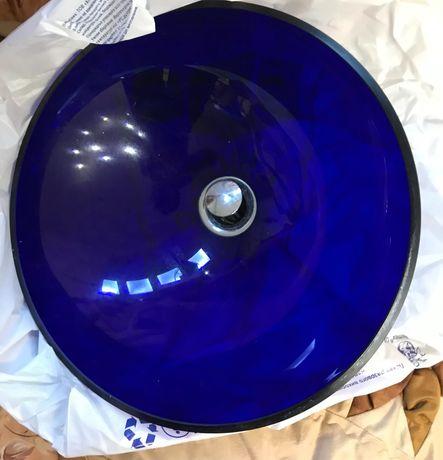 Продам раковину в ванную синее стекло