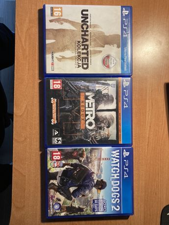 Gry ps4 uncharted, metro redux, watch dogs 2