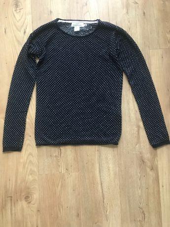 Granatowy sweter H&M wzory XS/S printy