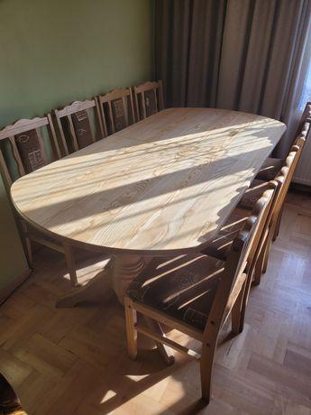 Stół drewniany z 12 krzesłami