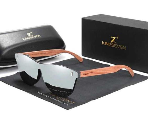 Okulary drewniane przeciwsłoneczne lustrzane KINGSEVEN
