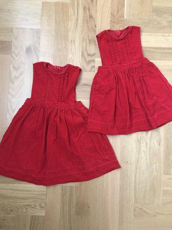 Czerwone sztruksowe sukienki 92 i 104