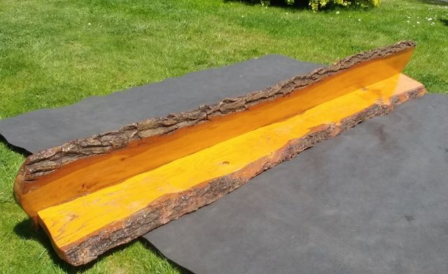 Półka drewniana dębowa 200x25x20, lite drewno, kora, uchwyty