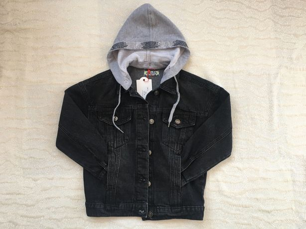 Джинсовая куртка для девочки(чёрная) с капюшоном, размер 128-158