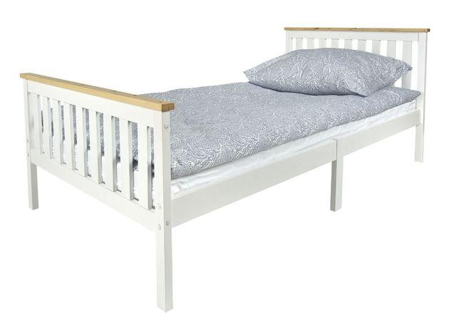 Drewniane białe łóżko MILANO PINE 200/90 z materacem 102/246228