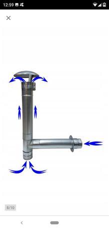 Kominek wentylacyjny przy ścienny z metalu do piecyka gazowego