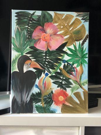Obraz ręcznie malowany na płótnie - 30x40cm - egzotyka