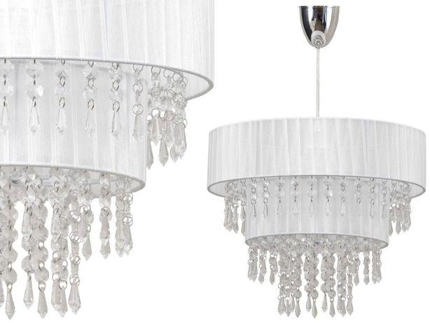 Kryształowa lampa TOSCANIA abażur tkanina biała Nowodvorski 4013