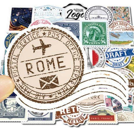 50 sztuk naklejki w formie znaczków znaczki