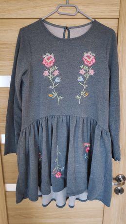 Sukienka tunika dresowa w kwiaty