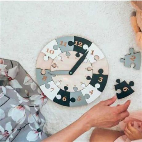 Drewniany zegarek, puzzle drewniane, nauka na zegarze, godziny
