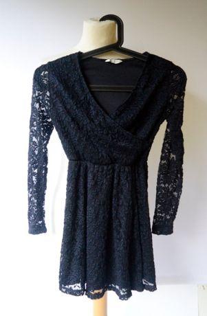 Sukienka Koronkowa Cubus Granatowa 134 140 cm 9 10 lat Koronka Modna