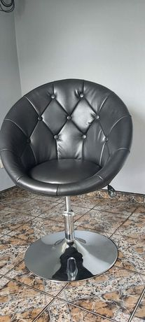 Hoker /krzesło/fotel czarny ekoskóra pikowany