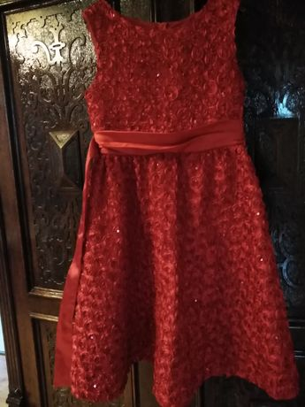 Czerwona sztkowna sukienka Rare Editions 3 d róże cekiny