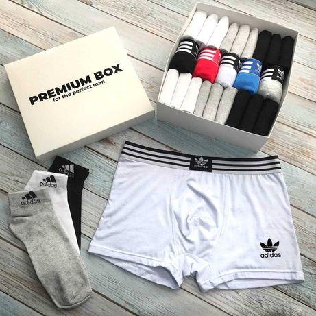 Мужские трусы носки Адидас белье Чоловіча білизна Adidas Подарок Набор