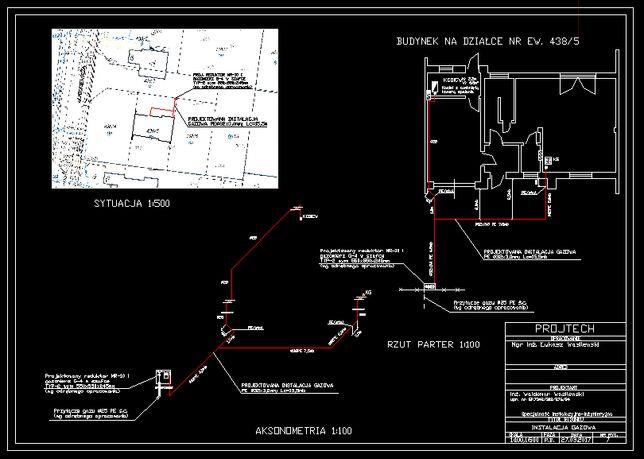 Przyłącza gazowe projekty, instalacja gazowa okresowe przeglądy gazowe