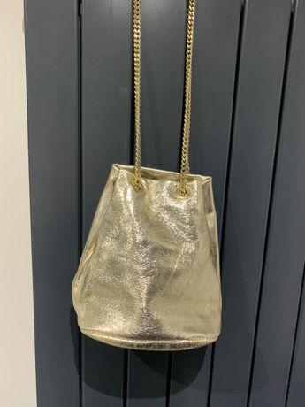 Złota torebka -włoska Skora, wysylka gratis