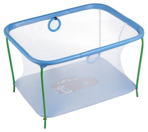 Манеж детский игровой KinderBox люкс Голубой тачки с мелкой сеткой