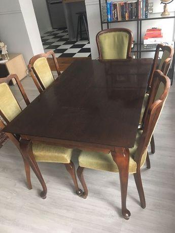 Stylowy stół dębowy krzesła Ludwik fotel dąb