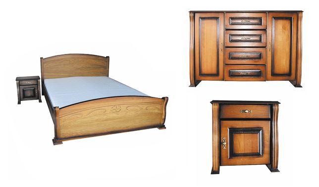 Sypialnia Stylowa Dębowa rzeźbiona każdy wymiar oraz kolor + 2 szafki