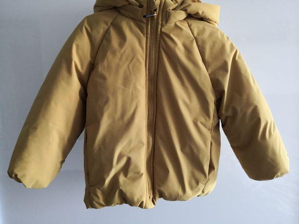 Zara jak NOWA Kurtka zimowa Płaszcz 104 unisex baby boy girl żółty