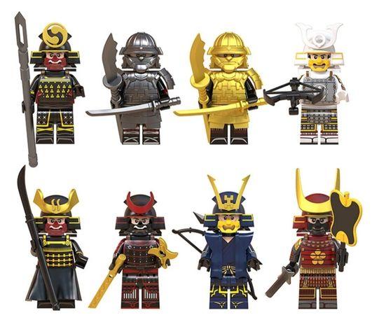 Conj. 8 Minifiguras Samurai comp. c/ Lego(Novo)