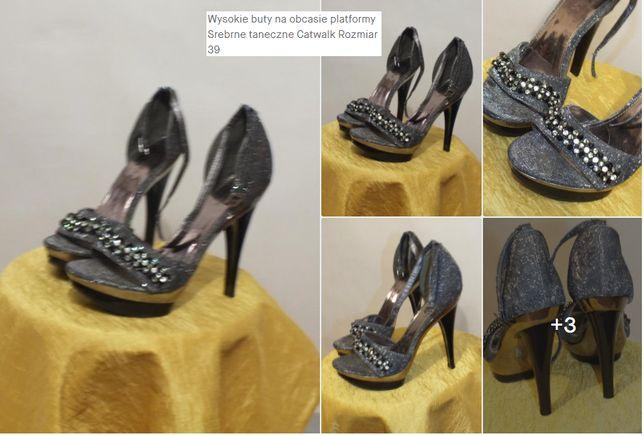 Wysokie buty na obcasie platformy Srebrne taneczne Catwalk Rozmiar 39