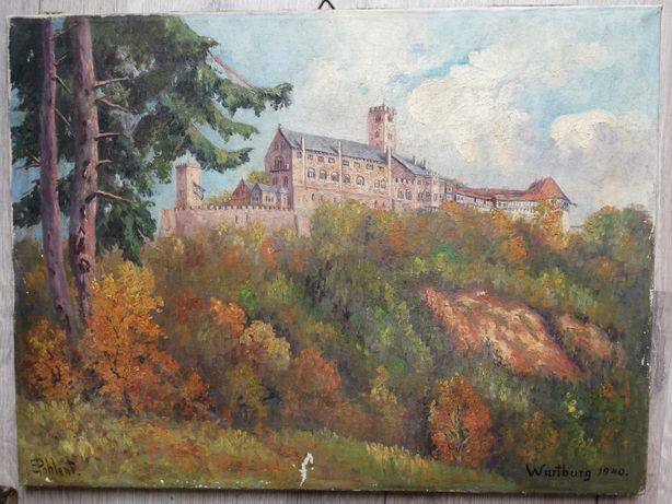 Obraz 1940 r. Pohlet Wartburg Zamek olej antyk