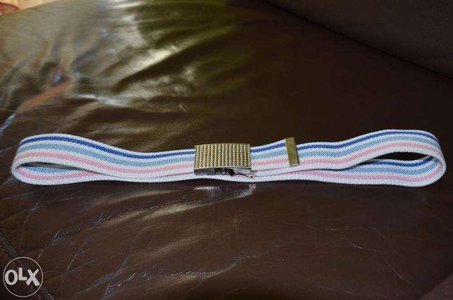 Nowy biało-różowo-niebieski pasek do spodni