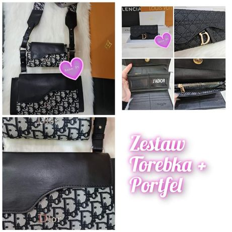 Zestaw Torebka listonoszka + portfel Christian Dior Premium