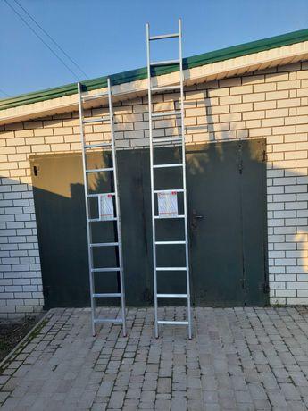 Лестница 10 ступеней 2,84 м, алюминиевая приставная  INTERTOOL LT-0110