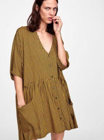 Свободное вискозное платье рубашка в клетку оверсайз zara